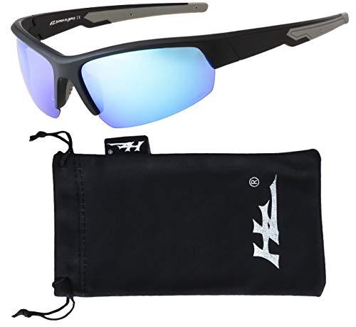 Hornz HZ Serie Ascendancy - Premio Polarizzati Degli Occhiali da sole Opaca cornice nera – Blu lente a specchio di ghiaccio