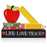 Huray Rayho Teacher's Blocks Appreciation Gift Ideas from Students Wooden Apple Pencil Kindergarten Signs Rustic Back to School Stationery Decoration Supplies Set of 6