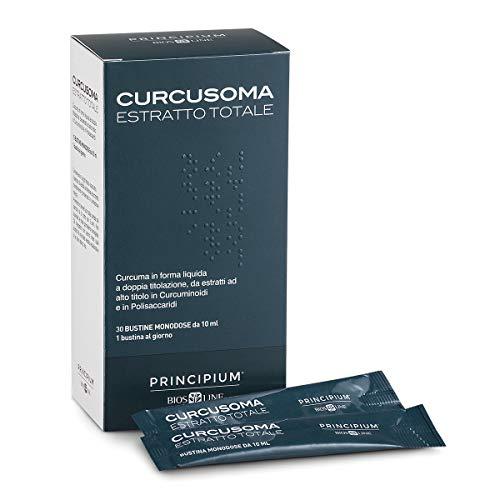 BIOS LINE Principium Curcusoma Estratto Totale, Integratore curcuma ad elevato assorbimento, Integratore antiossidante in forma liquida, 30 bustine monodose da 10 ml