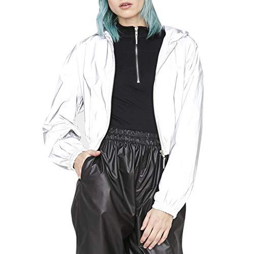 GOKOMO Reflektierend Reflektierende Damen Jacke Unisex Full Reflective Jackereflekierend Ladies Street Trendy Kapuzen-ReißVerschluss Kurzarm-Langarmjacke Ultravisible(Silber,Medium)