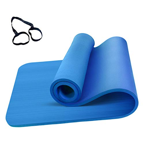 Roeam Yogamatte Rutschfest, Yogamatte 1cm Dicke, Yoga Matte, Fitness Sportmatte, Fitnessmatte, Gymnastikmatte für Damen Herren, 183cm x 61cm, Blau