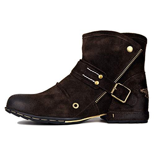 MERRYHE Fait à La Main Vintage Martin Boot Mens Bout Rond Zip Bottines Black Brown Desert Boot pour Trekking Randonnée,Brown-US9/EU43