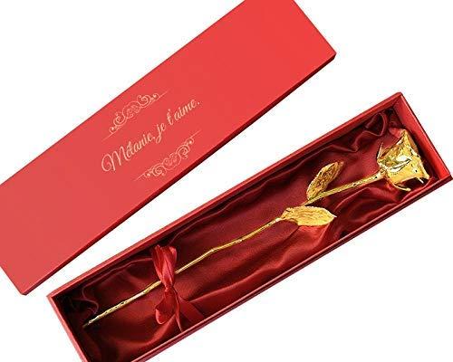 Grande rose en or éternelle (36 cm) 24 carats dans son écrin personnalisé - Cadeau d'amour, Cadeau Saint-Valentin, Cadeau Maman