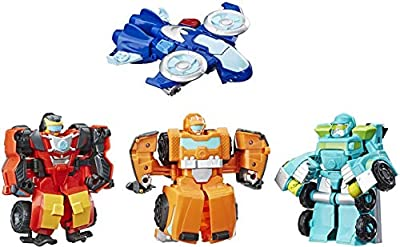 "Playskool Heroes Transformers Rescue Bots Academy Rescue Team Pack, 4 Collectible 4.5"" Converting Action Figures, Toys for Kids Ages 3 & Up, Brown (E5099) from"