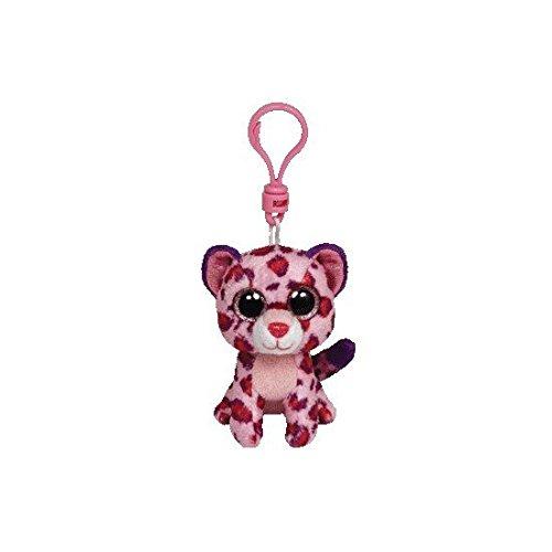Carletto Ty 36585 Ty 36585-Glamour Clip Leopard mit Glitzeraugen Beanie Boo's, 8.5 cm, pink