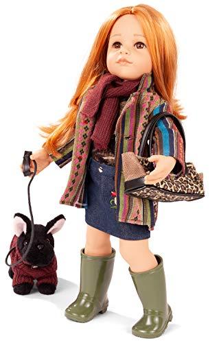 Götz 2059095 Hannah and her Dog Puppe - Hannah und Ihr Hund - 50 cm große Stehpuppe, rote Haare, braune Augen - 12-teiliges Set