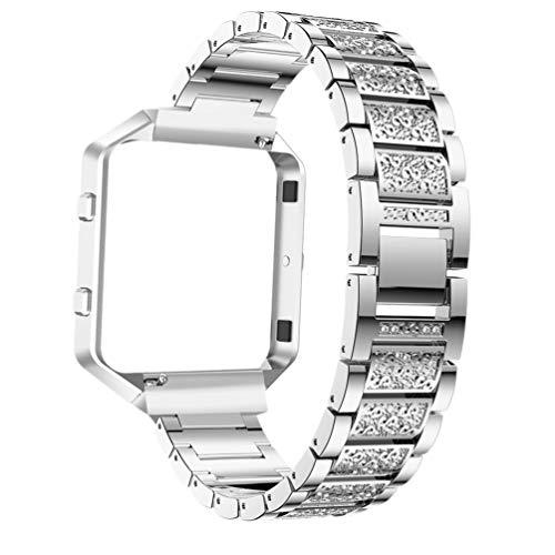 Hemobllo Kompatibel für Fitbit Blaze Metal Kristall Armband Uhrenarmband Verstellbares Ersatzarmband Armband Einzigartiges Uhrenersatzarmband Uhrenzubehör(Silber)