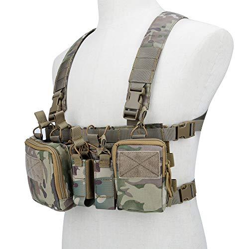 XUE Gilet Tactique pour Homme Femme Leger Rig de Poitrine avec 5,56 9mm Porte Chargeur pour Airsoft Police Militaire Chasse Armée Deguisement Paintball Molle Accessoires
