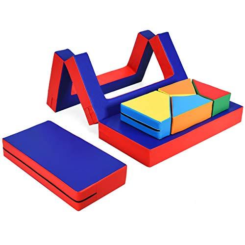 COSTWAY 8 TLG. Schaumstoffbausteine, 4 in 1 Kindermöbel, Riesenbausteine, Softbausteine, Kinder Sofa Bett Tisch Stuhl Softbausteine, für Kinder im Vorschulalter, Babys und Schulkinder, bunt