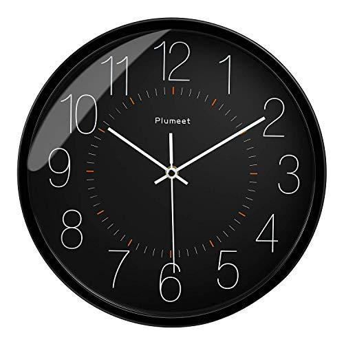 Plumeet Leise Wanduhr, 30 cm Nicht tickende Quarzuhr, batteriebetrieben, dekorativ, für zu Hause, das Büro oder die Schule, schwarz