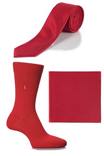 Herren SockShop Colour Burst Socken, Krawatte und Einstecktuch Set - Rot 40-45 Herren