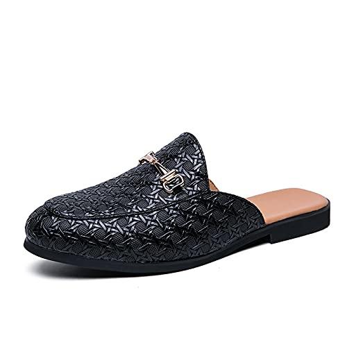 NUGKPRT chanclas,Medias Zapatos para Hombre Zapatos de Cuero Blancos Hombre Moda Casual Zapatillas Deslizantes Zapatos Casuales 38 Negro