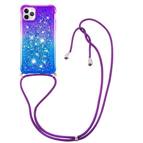 Miagon für iPhone 11 Pro Glitzer Flüssig Halskette Hülle,Flüssigkeit Treibsand Kordel zum Umhängen Necklace Crossbody Cover mit Band Schnur Case für iPhone 11 Pro