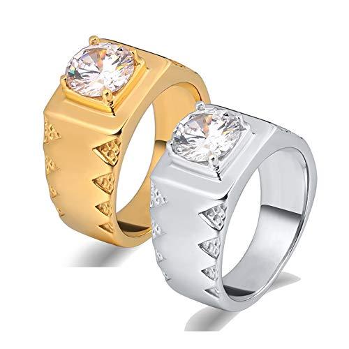 ANAZOZ 2 Stück Damen Herren Verlobungsring Edelstahl 10Mm Solitärring Diamantring mit Zirkonia Siegelring Ringe Trauringe Unisex Ringe Silber Gold Ringe Set Basteln Frau:67 (21.3) & Mann:67 (21.3)