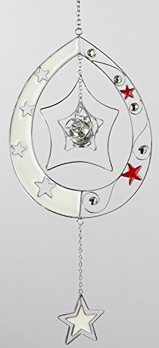 Formano Hängedeko Dekohänger Fensterdeko Fensterschmuck Tropfen mit Sternen in Silber weiß, 40 cm