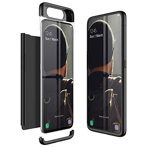 Winhoo para Funda Samsung Galaxy A80 Carcasa Fundas para Samsung Galaxy A80 360 Grados 3 en 1 Desmontable Ultra-Delgado Anti-Arañazos Case Protectora - Negro