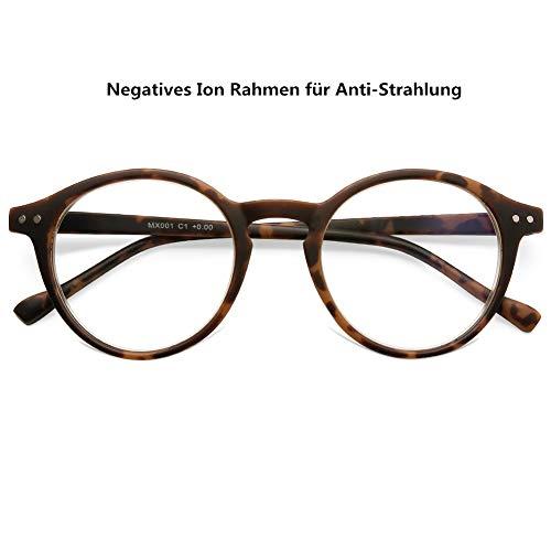 DOOViC Blaulichtfilter Computerbrille Schildkröte Runde Vollrand Feder Scharnier Strahlenschutz Brille ohne Stärke für Damen/Herren