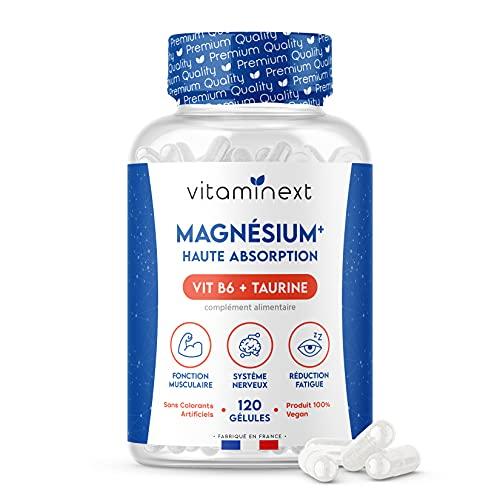 Magnesio Bisglicinato + Vitamina B6 + Taurina (vegana)   120 Capsule Vegetali   300 mg per dose   Alto assorbimento, alto contenuto e comfort digestivo   Prodotto in Francia   Vitaminext