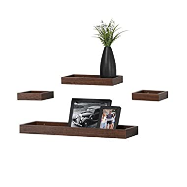 O&K Furniture Multi Length Set of 4 Floating Shelf, Espresso- Teak