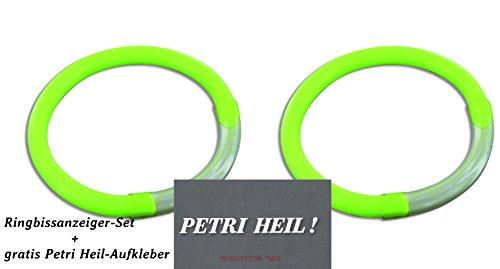 Set: 2 segnalatori di abboccata ad anello giallo + adesivo Petri Heil incluso