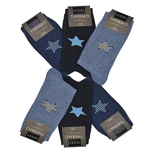 OCERA 6 Paar Thermo Socken für Damen mit Sternenlogo im Farbmix Marine Gr. 39/42