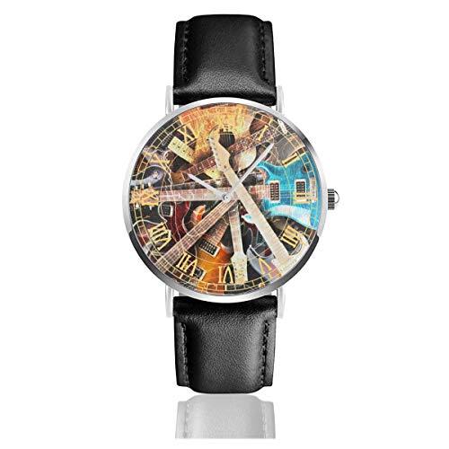 Reloj para Mujer Guitarra eléctrica Pintura Casual Relojes de Pulsera de Cuarzo de Acero Inoxidable con Banda de Cuero