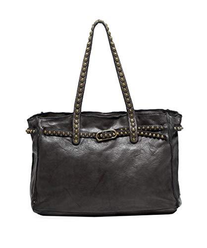Campomaggi Damen Shopper-Tasche aus Leder Nieten Griff Grau Ein Größe
