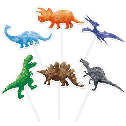 Watercolor Dinosaur Party Cupcake Toppers - 36PCS Dinosaur Birthday Party Supplies Cupcake Toppers Picks for Boys Kids Dino Theme Party Decorations Cake Decor