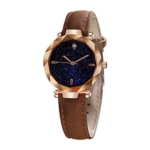 Damen Uhren Mode Sternenklare Zifferblatt Damenuhr Lederband Armbanduhr Quarzuhr Frauen Uhr Geschenk Yuwegr (G)