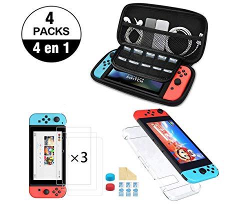 Estuche de Almacenamiento para Nintendo Switch con Accesorios de Protección, protector de pantalla, joy-con pulgar grips, paño de limpieza para pantalla, carcasa Nintendo Switch