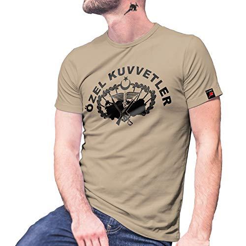 Özel Kuvvetler Bordo Bereliler Türkei Spezial-Einheit Türkische T Shirt #30065, Farbe:Sand, Größe:Herren XL