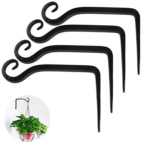 NGwenyicanI Pflanzenhalter Blumenhänger Eisen Wandhaken Blumenhänger Wandhalter Haken zum Aufhängen von Pflanzgefäßen Vogelhäusern Laterne Windspiele Wandleuchter 4pcs Schwarz