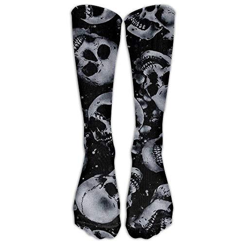 Dutars Kompressionsstrümpfe mit Totenkopf-Motiv, hohe Socken, lange Socken, für Laufen, Medizin, Athletik, Ödeme, Diabetiker, Krampfadern, Reisen, Schwangerschaft, Schienbeinschienen
