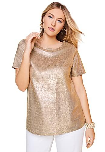 Jessica London Women's Plus Size Metallic Tee Sparkle Short-Sleeve T-Shirt - 22/24, Gold White