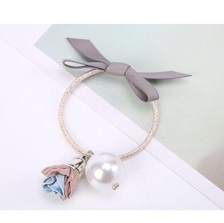 WEIAIXX Stijlvolle Vlinder Tie Haar Lederen Band Parel Bloem Hanger Haar Touw Haarband Al-Ma Mei-Twine 3938- Toner + Lichtblauw