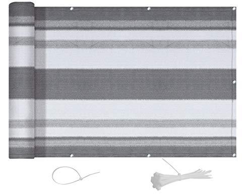AXT SHADE Blickdichte Balkon sichtschutz 90x300cm HDPE, UV-Schutz Balkonabdeckung,Balkonverkleidung - mit Kabelbindern -Silbergraue Streifen