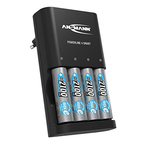 ANSMANN batterijlader incl. 4x AA 2100 mAh accu's Powerline 4 Smart zwart