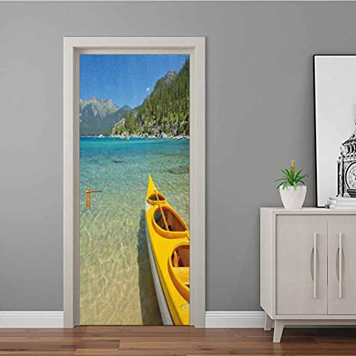 Door Sticker Extreme Sports in Wild Lakeside Places Scenic Activities 3D Door Stickers Decal Fireplace Kitchen Backsplash Turquoise Sky Blue Lime Green 35.4 x 78.7 Inch