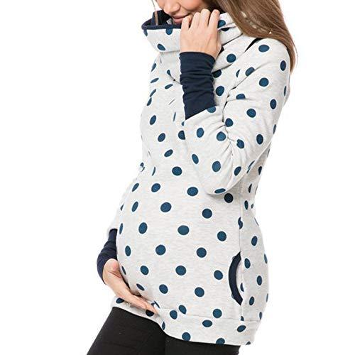 Riou Damen Stillpullover Winter Warm Baumwolle Langarm Drucken Zweilagiges Stillen Hoodie Sweatshirt mit Taschen für Schwangerschaft Basic Stillzeit Umstandsmode Stillshirts (Rosa, L)