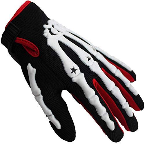 Men's Motorcycle Gloves,Breathable, Powersports,Motorbike,Scooter,Race,Full Finger Motorcycle Gloves (Red Skeleton Bones, L)