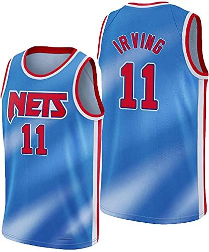 AMELIA Jerseys de Baloncesto de los Hombres, NBA Brooklyn Nets # 11 Kyrie Irving Transpirable Resistente a la Malla Bordado Baloncesto Swingman Jerseys,Azul,XL