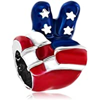 LovelyJewelry American Map USA Flag Patriotic 4th of July Independence Day Charm Bead