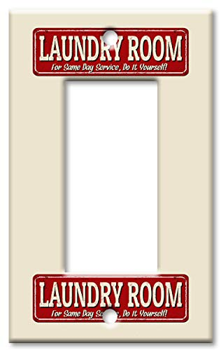 Art Plates Brand Single Gang Rocker (Decora) Switch/Wall Plate - Laundry Room