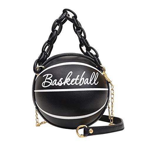 Minshang - Bolso de mano con forma de baloncesto para mujer, Black (Negro) - Minshang