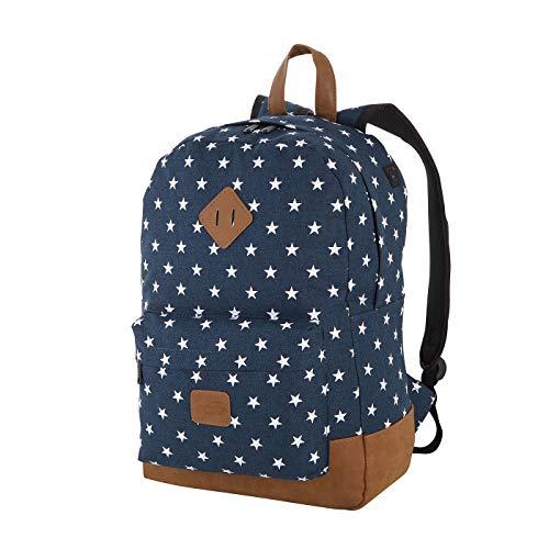 Rada Rucksack Schulrucksack mit Sternen Unisex Daypack für Jugendliche Mädchen (40 x 45 x 12,5 cm) (dunkelblau)