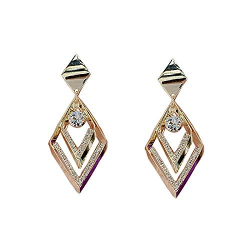 SHUANGJ Temperament Diamond Earrings Plata Aguja Pendientes Mujeres Pendientes de Moda