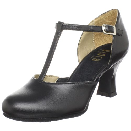 Bloch Women's Splitflex T-Strap Character Shoe, Black, 10