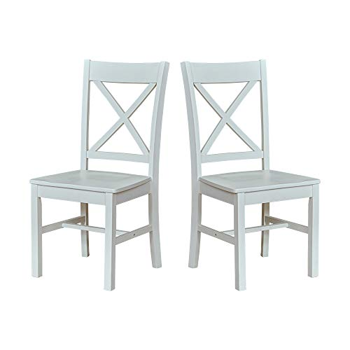 Ravenna Home Solid Pine Dining Chair with Cutout Back, 38'H, White Finish, Set of 2