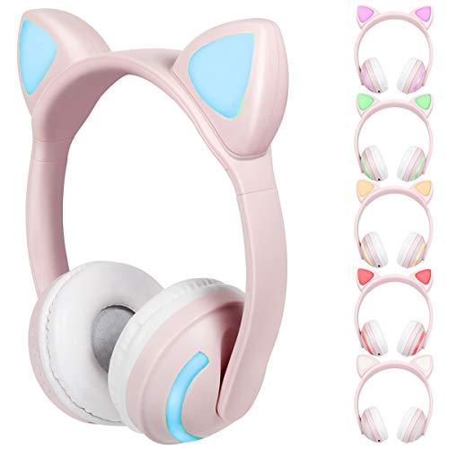 Yolispa Linda Oreja de Gato BT5. 0 Auriculares Estéreo Inalámbricos con Micrófono con 7 Luces LED para Adultos Y