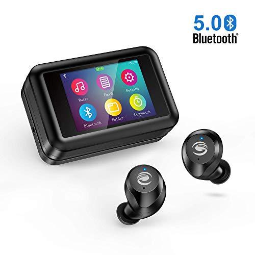 Auricolari bluetooth Orit Cuffie Bluetooth 5.0 Senza Fili con Lettore MP3 Multifunzione, Touchscreen LCD da 2,0', Stereo HD Cuffie wireless con Microfono impermeabile IPX7 per Android, IOS